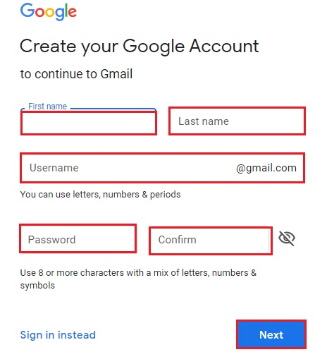 Account on Gmail 3
