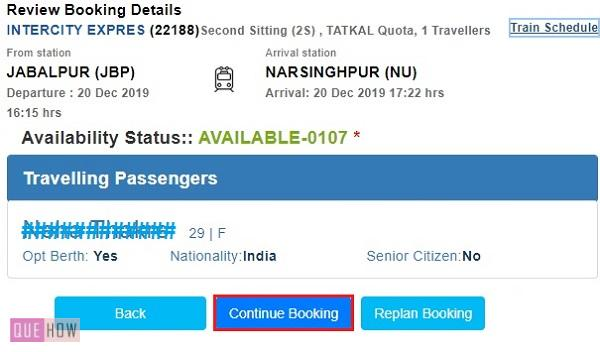 Book Tatkal Ticket in IRCTC 7