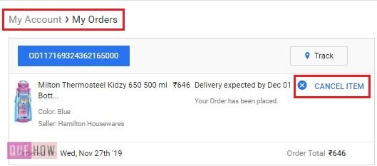 cancel an Order on Flipkart 4