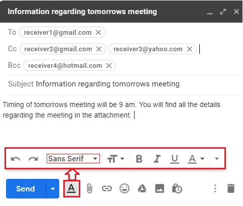 Compose email in Gmail 7