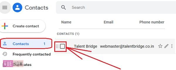 Delete contacts in Gmail 4
