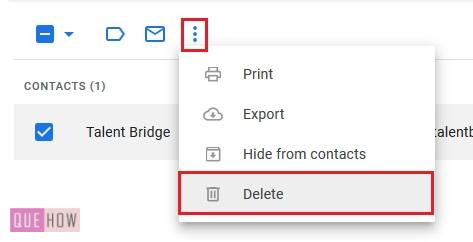Delete contacts in Gmail 6