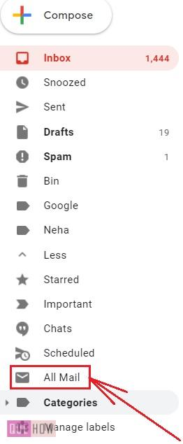delete all mails in Gmail - 3