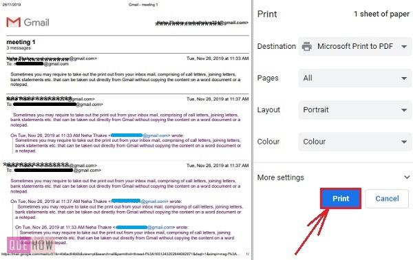 print an email in Gmail 3