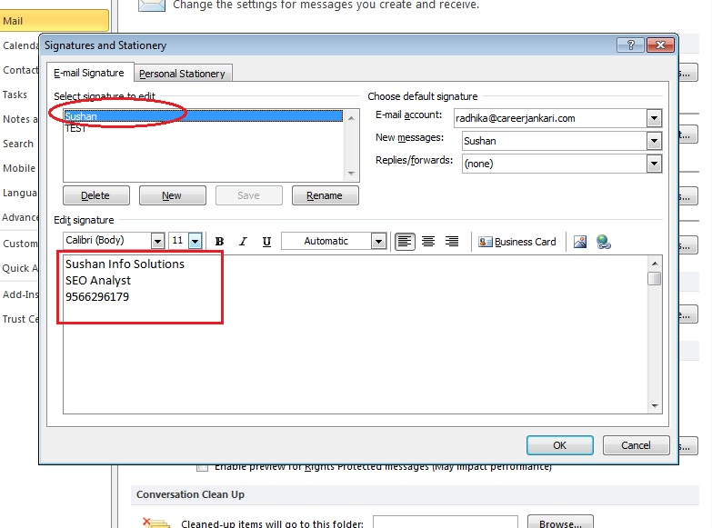 How-to-put-Signature-Outlook 2010-step4