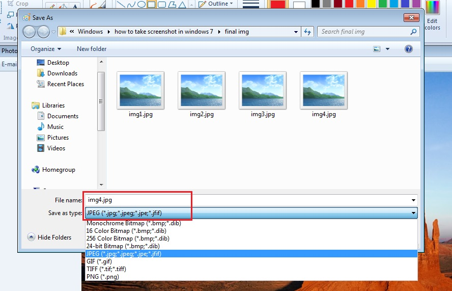 how to take screenshot in windows 7 step5