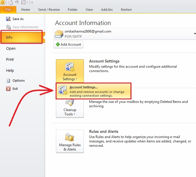 how-to change-name-outlook 2010-step2