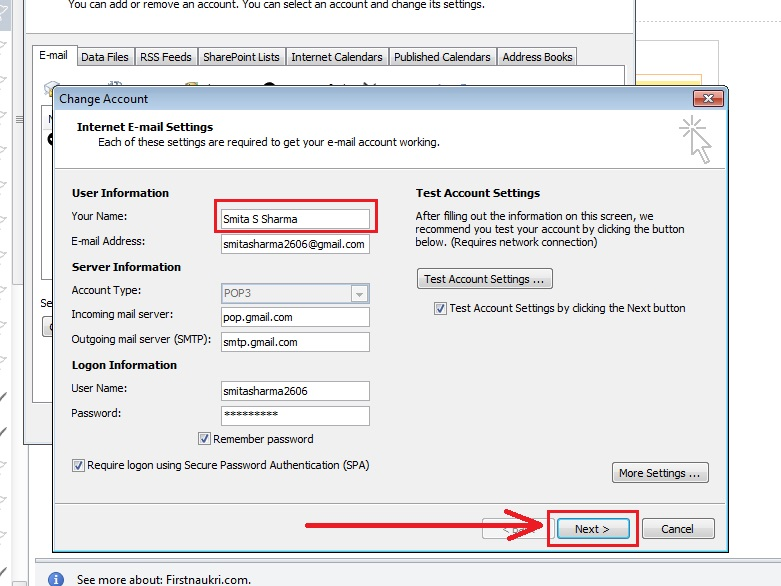 how-to change-name-outlook 2010-step4