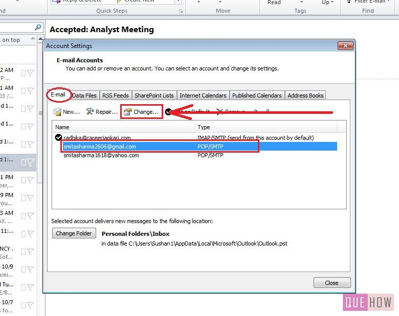 how-to-change-password-outlook 2010-step3