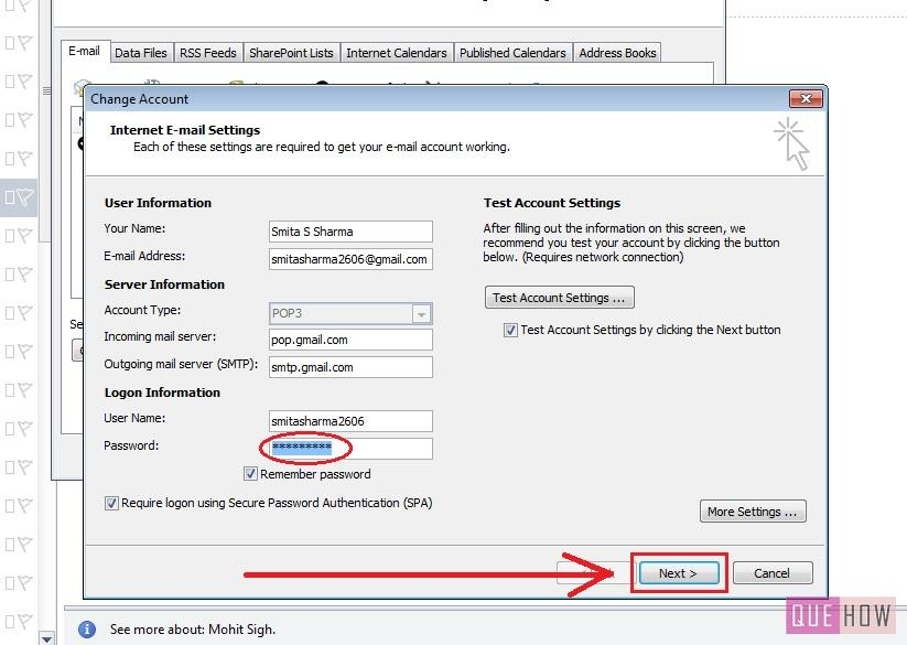 how-to-change-password-outlook 2010-step4