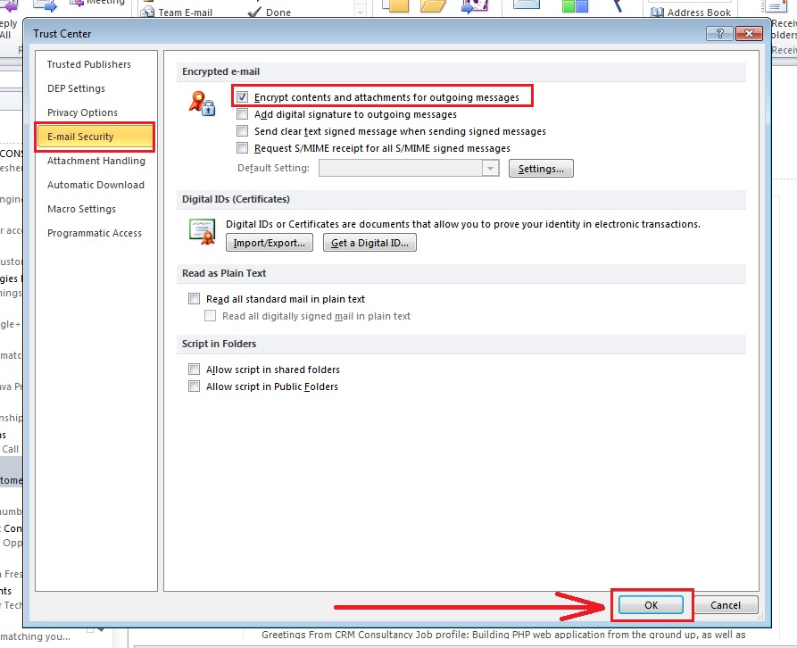 how-to-encrypt-e-mail-outlook 2010-step4