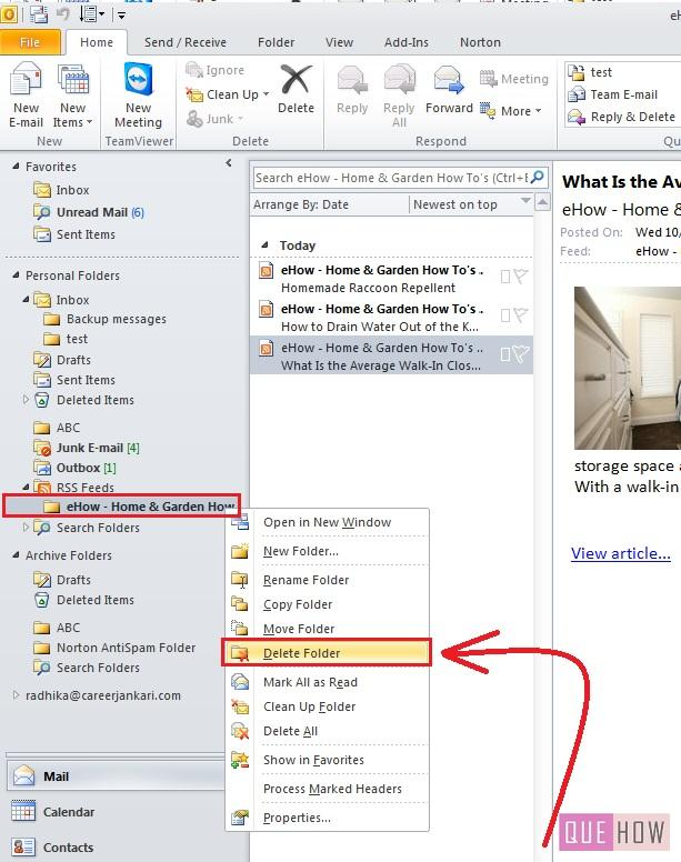 how-to-remove-RSS Feeds-outlook 2010-step3
