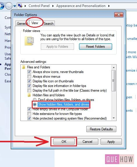 how to show hidden files in windows 7 step4
