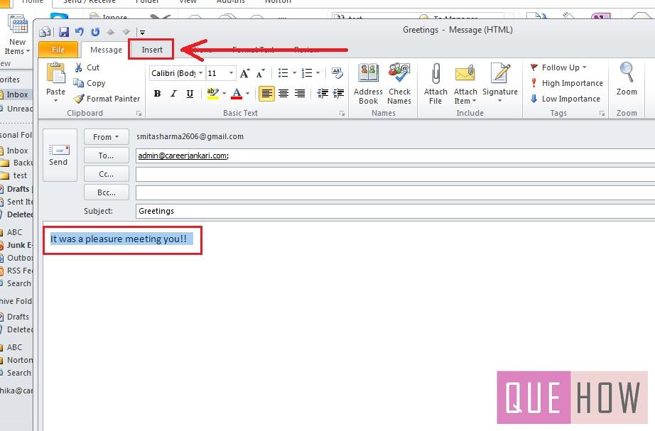 how-to-use-quick-parts-outlook 2010-step2