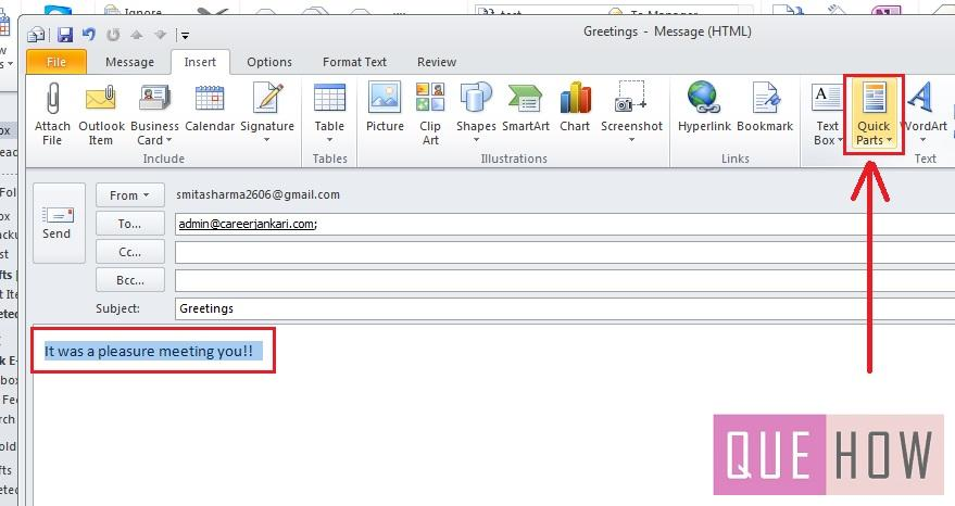 how-to-use-quick-parts-outlook 2010-step3