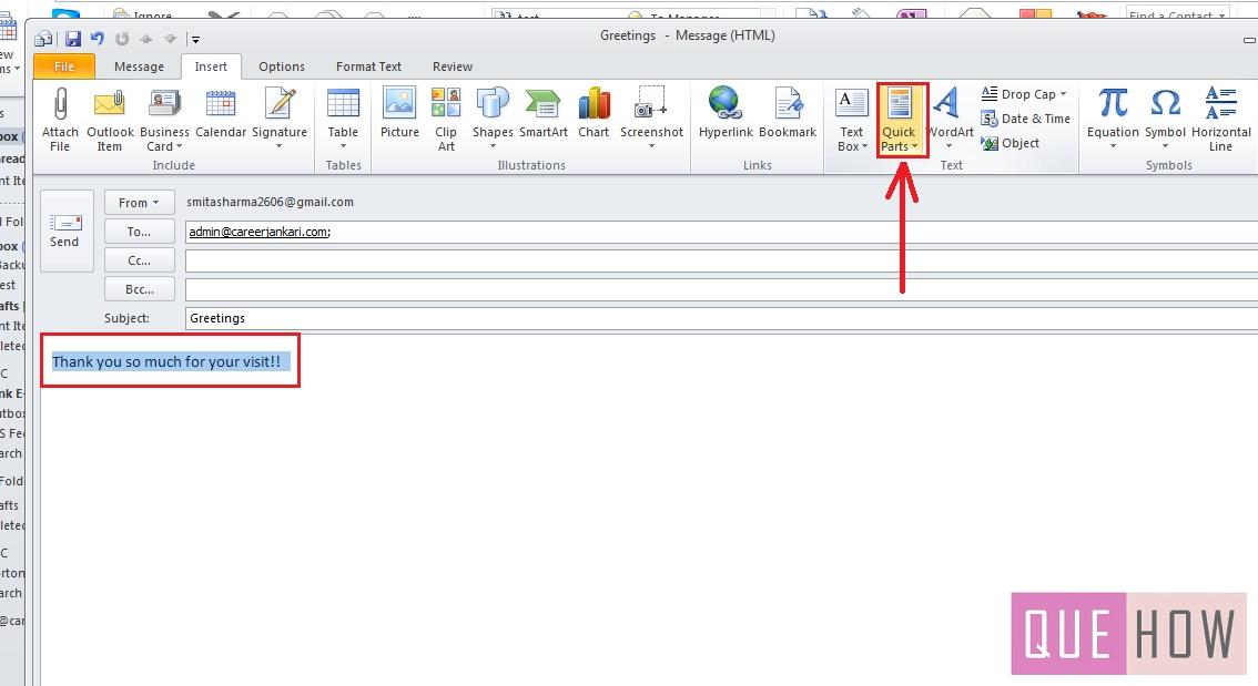 how-to-use-quick-parts-outlook 2010-step4