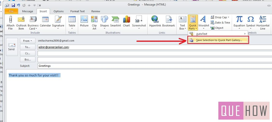 how-to-use-quick-parts-outlook 2010-step5