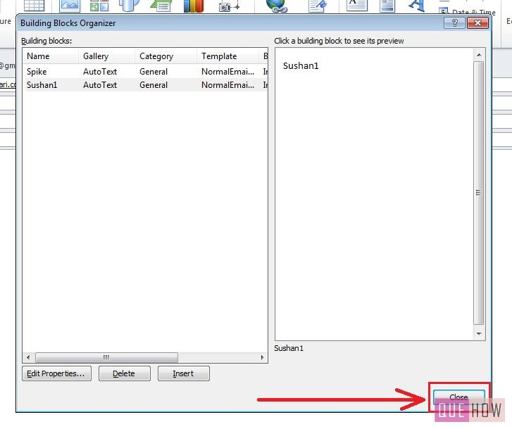 how-to-use-quick-parts-outlook 2010-step7-2