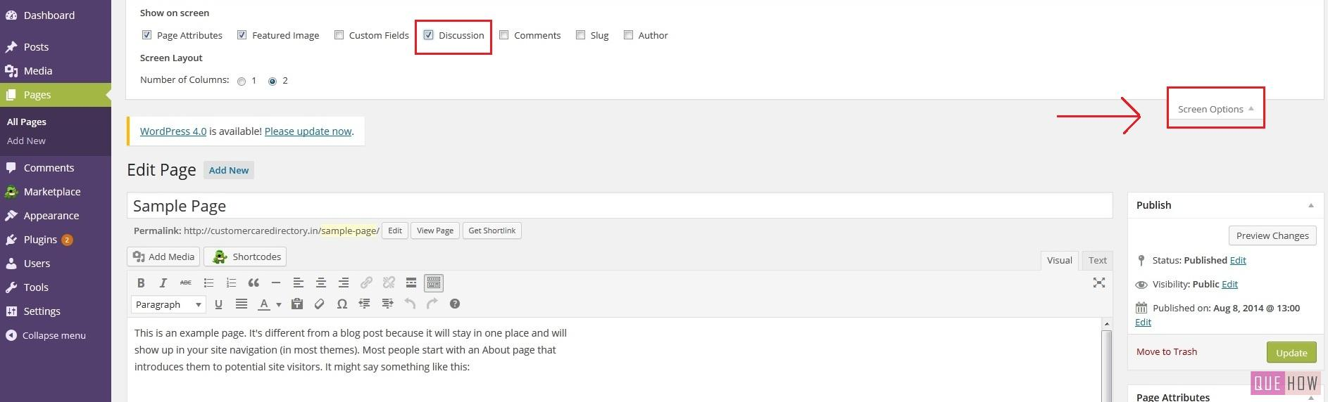 How to disable comments on specific page on WordPress-step3