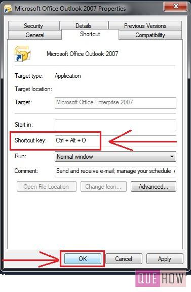 windows 7 allocate key-board shortcut