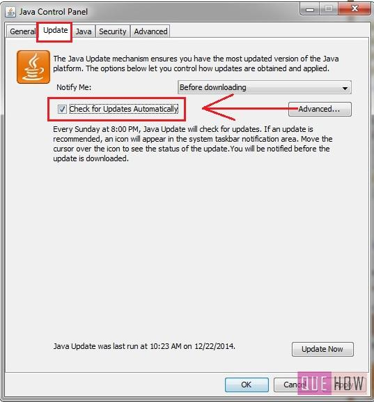 how to disable java update notification in windows 7-step2