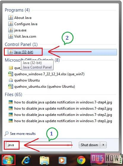 How to Disable Java Update Notification / jucheck.exe in Windows 7