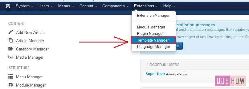 how to edit a template in joomla 3.x-step1