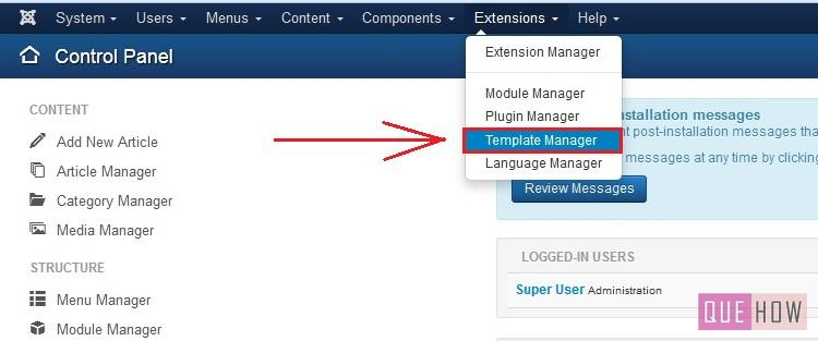 how to edit template css in joomla-step1