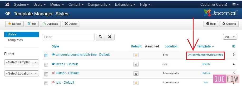 how to edit template css in joomla-step2