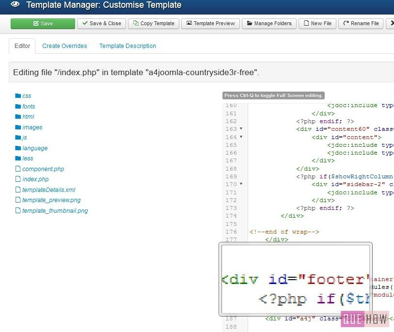 how to edit the copyright footer in joomla-step4