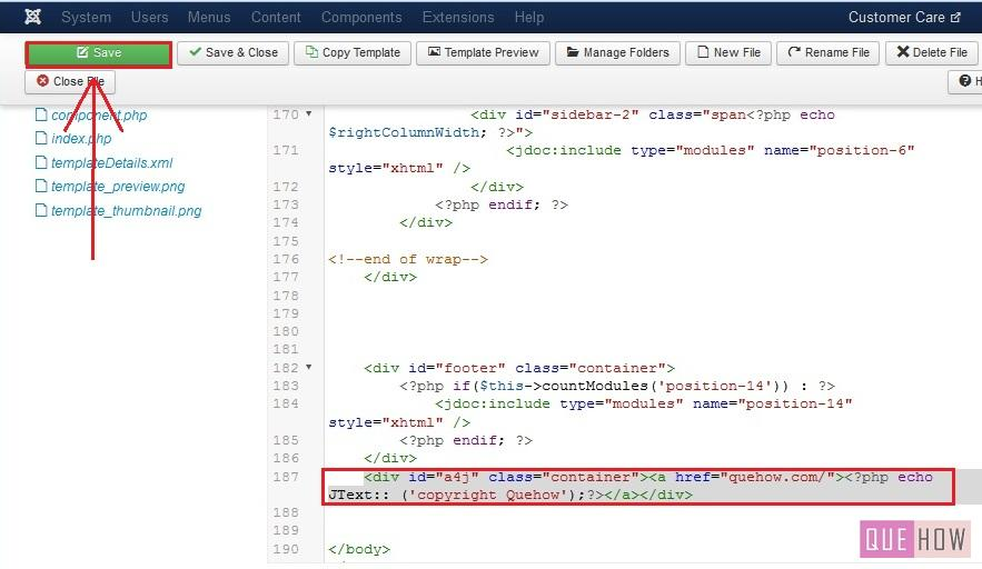 how to edit the copyright footer in joomla-step5