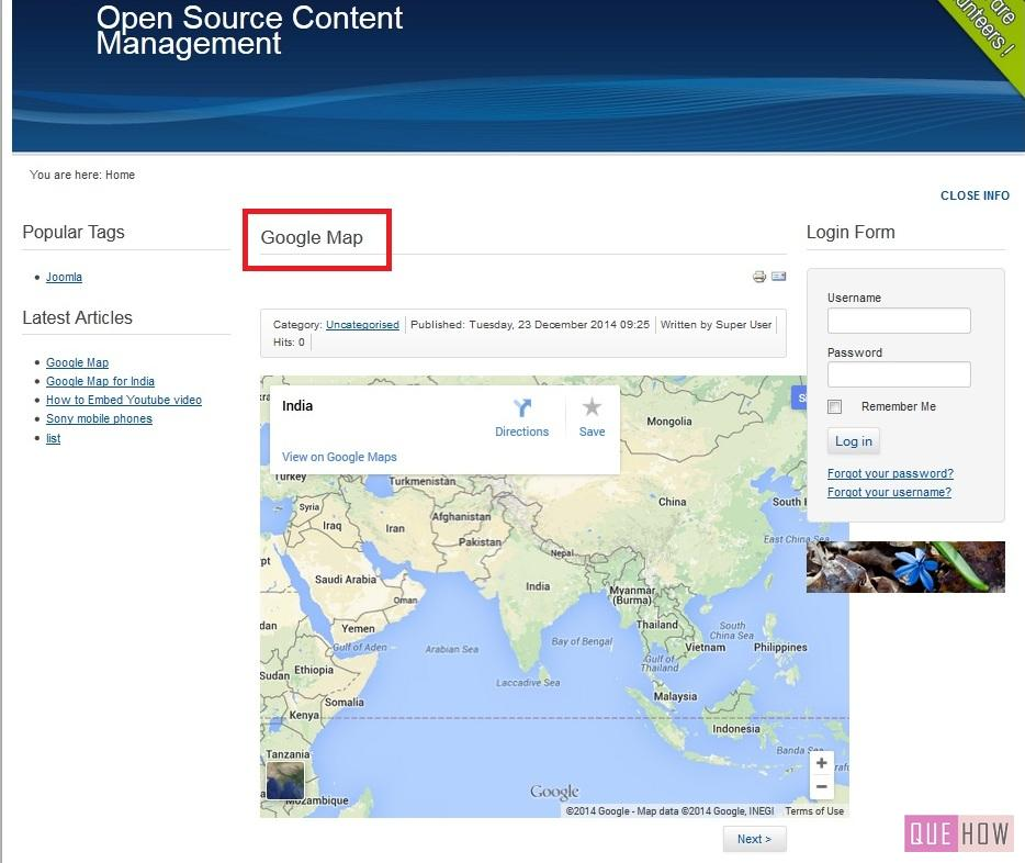 how to embed google map in joomla website-step9