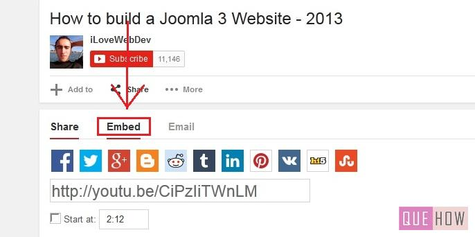 how to embed youtube video in joomla-step4