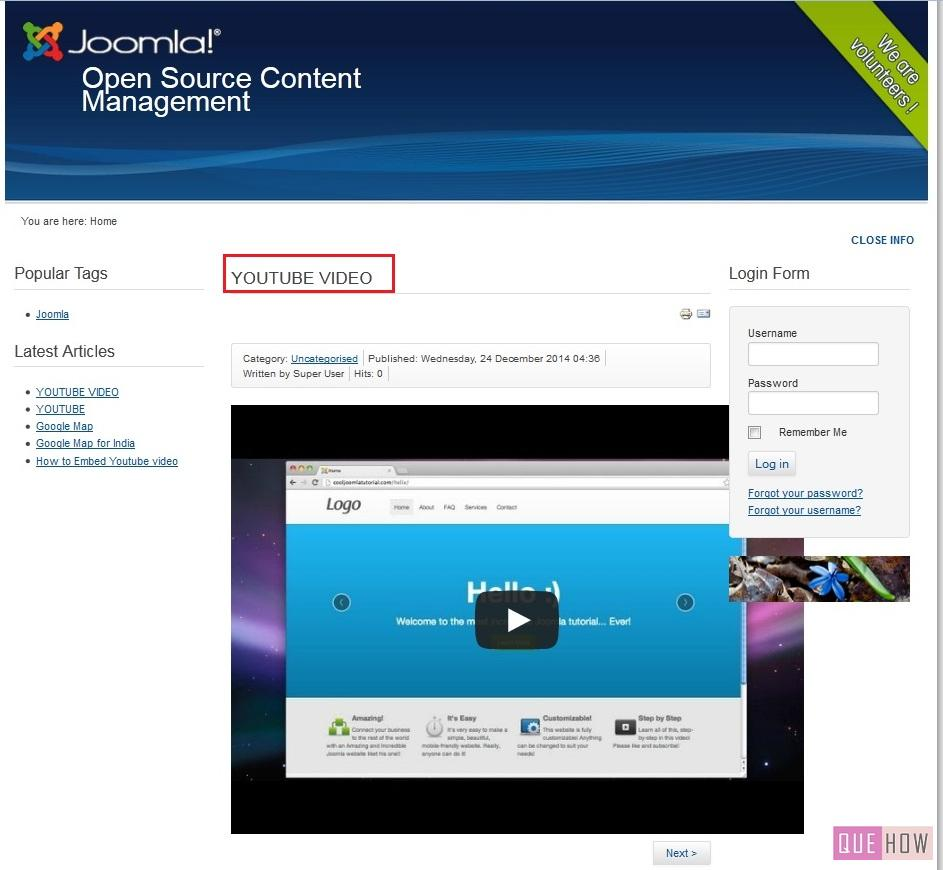 how to embed youtube video in joomla-step9