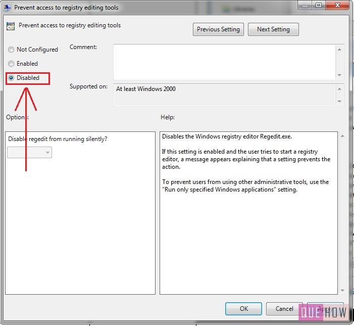 how to enable disable regedit in windows 7-step5