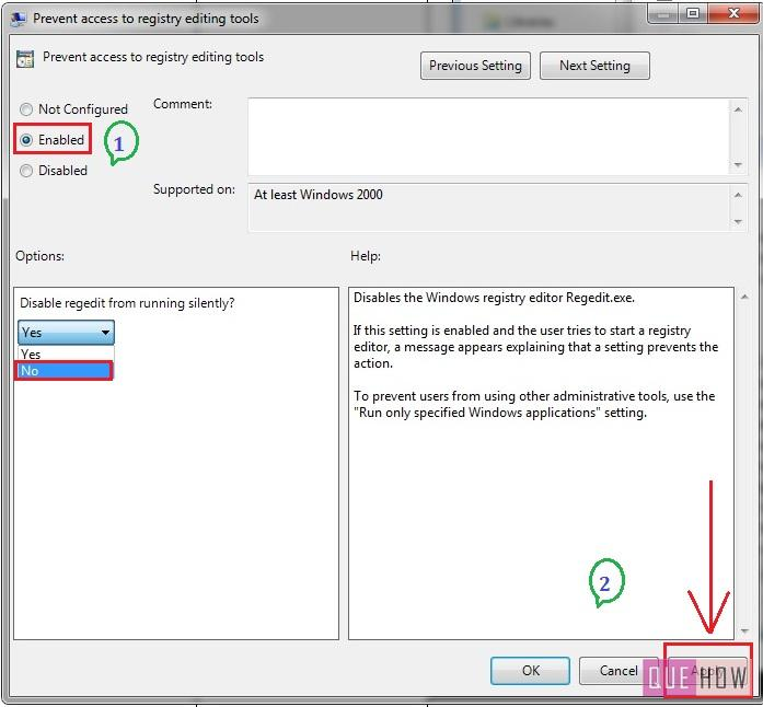 how to enable disable regedit in windows 7-step6