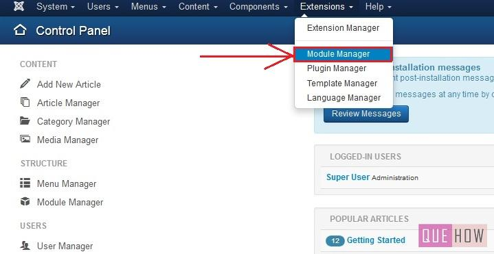 how to position a module in joomla-step1