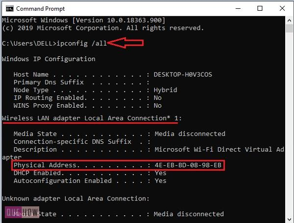 find MAC address of a computer system in Windows 10-18