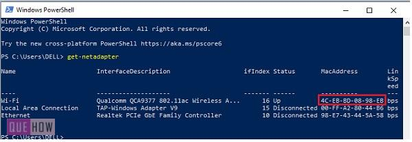 find MAC address of a computer system in Windows 10-20