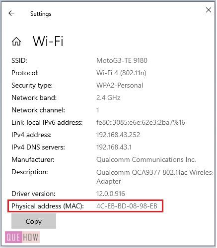 find MAC address of a computer system in Windows 10-5