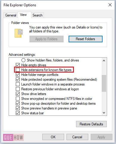 Show File Extensions in Windows 10-8