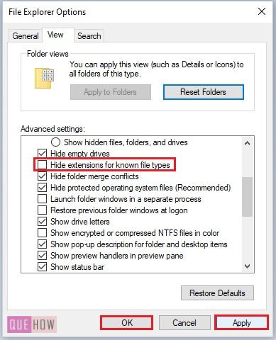 Show File Extensions in Windows 10-9