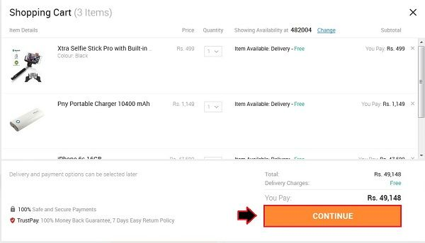how-to-add-items-in-snapdeal-shopping-cart