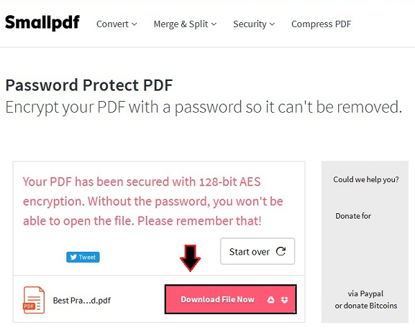 how to create a password protected pdf file