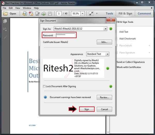 Add digital signature field pdf