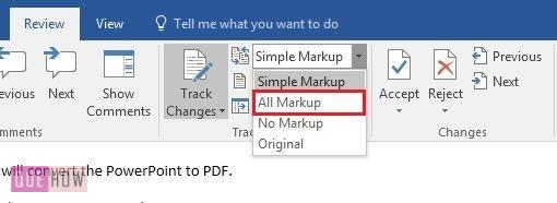 how-to-track-changes-in- MS-word-2016-step-3