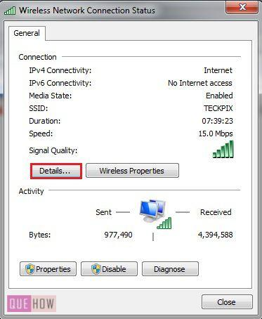 How to check IP address in Windows 7 method 4 step 3