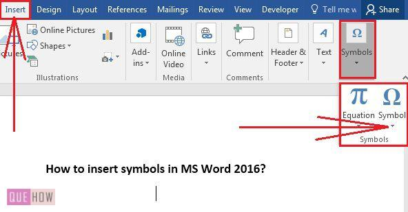 How To Insert Symbols In Ms Word 2016 With Pictures Quehow