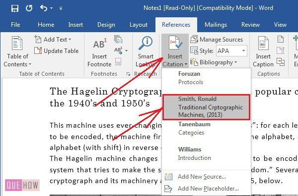 how to create insert and update citation in ms word 2016