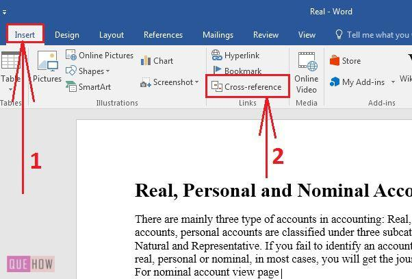 how to create cross reference in ms word 2016 with pictures quehow
